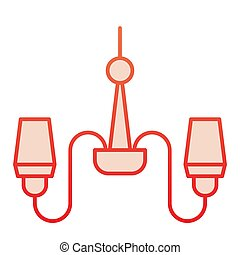 Chandelier flat icon. Lamp red icons in trendy flat style. Decorative light gradient style design, designed for web and app. Eps 10.