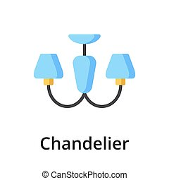 Chandelier flat vector illustration. Single object. Icon for...