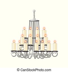 Chandelier for living room in retro style. Vector.
