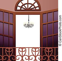 chandelier hanging in front of open balcony