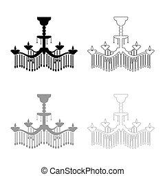 Chandelier icon outline set black grey color vector illustration flat style image