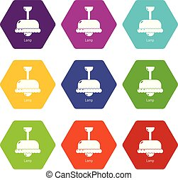 Chandelier icons set 9 vector
