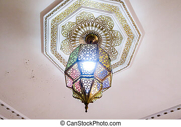 chandelier in church, photo as background