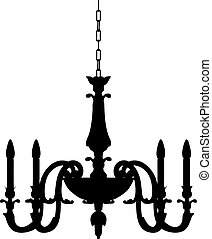 chandelier lamp outline vector silhouette