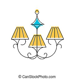 Chandelier line icon, vector illustration, hanging lamp logo