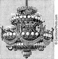 Chandelier of the Opera of Paris, vintage engraving. -...