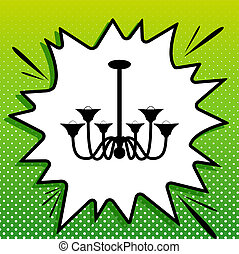 Chandelier simple sign. Black Icon on white popart Splash at green background with white spots. Illustration.