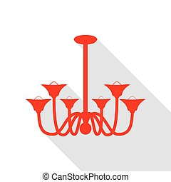 Chandelier simple sign. Red icon with flat style shadow path.