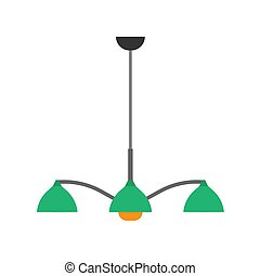 Chandelier style decorative shiny luxury lamp closeup night vector icon. Interior equipment flat floor furniture luster