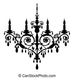 Chandelier vector illustration - Baroque candlestick...