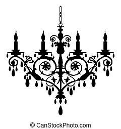 Chandelier vector illustration - Baroque candlestick ...