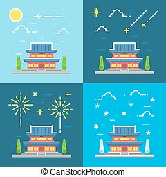 Chandeokgung palace flat design illustration vector