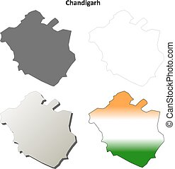 Chandigarh blank detailed outline map set