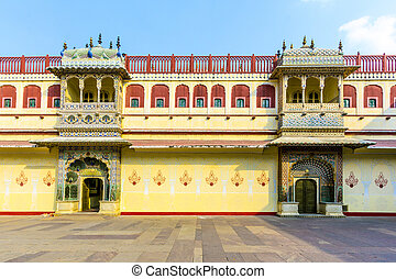 Chandra Mahal in City Palace, Jaipur, India. It was the seat...