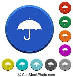 chanfrado, botões, guarda-chuva