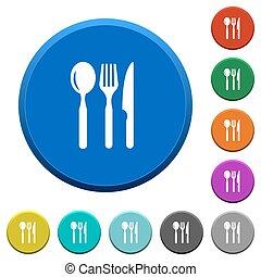 chanfrado, botões, restaurante