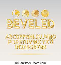 chanfrado, dígito, fonte, esboço, ouro