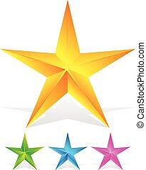chanfrado, estrelas, em, amarela, verde, cor-de-rosa