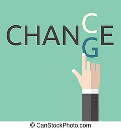 Change and chance. Hand changing letters C and G. Opportunity, evolution, solution, decision, courage, business success and positive thinking EPS 8 vector illustration, no transparency