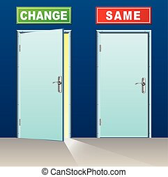 change and same doors - illustration of two doors for change...