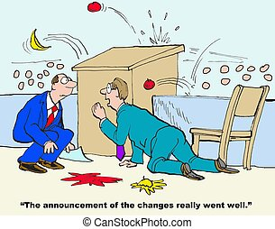 Change Announcement - Business cartoon about employees...