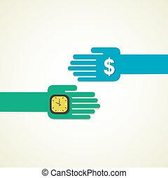 change argent, horloge