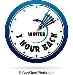 change., besparing, uur, klok, een, back., daglicht, tijd
