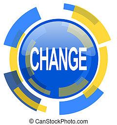 change blue yellow glossy web icon