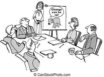Cartoon of seminar leader with diagram showing change can be rough.