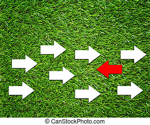 Change Concept on Green Grass Background