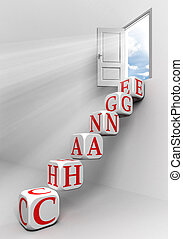 change conceptual door with sky and box word ladder in white...