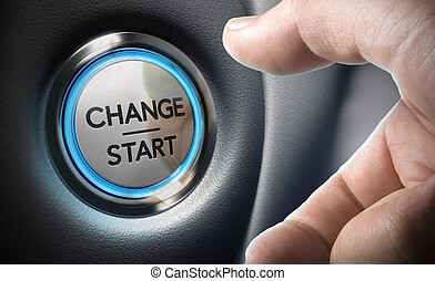 Change Decision Making Concept - Change start button on a...