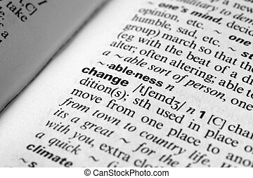 Change - Dictionary definition of business word