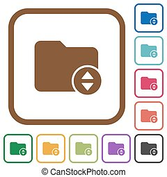 Change directory simple icons in color rounded square frames...