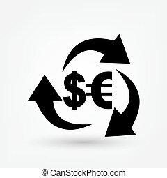 change, dollar, icône