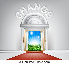A conceptual illustration of Change door entrance opening onto a field of lush green grass. Concept for a positive life change