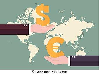 change, euro, et, dollar, à, planisphère, fond