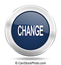 change icon, dark blue round metallic internet button, web and mobile app illustration