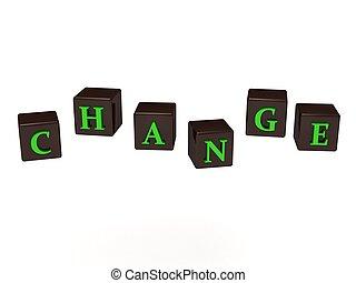 CHANGE inscription green letters