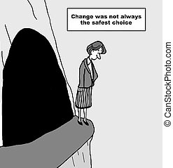 Change Management - Cartoon of businesswoman on edge of...