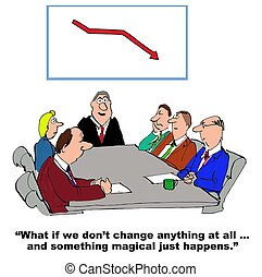 Change Management - Business cartoon about team resisting...