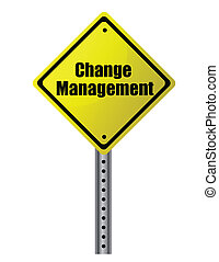 Change management posted on a yellow sign. Vector File...