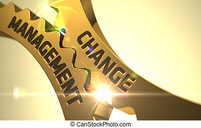 Change Management Concept. Golden Metallic Gears. 3D. -...