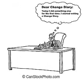 Change Management Diary - Cartoon of businessman living with...