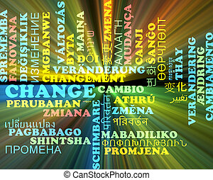 Change multilanguage wordcloud background concept glowing