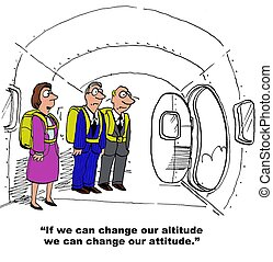 Change Our Attitude - Business cartoon of businesspeople...