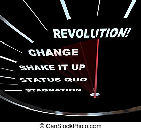 Speedometer with needle racing through the words Revolution, Change, Shake it Up, Status Quo and Stagnation