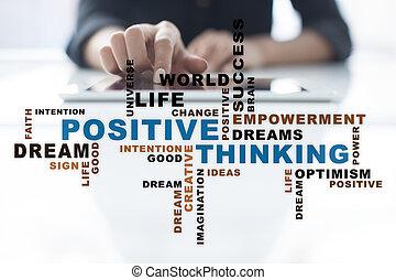 change., vita, affari, pensare, positivo, concept., parole, cloud.