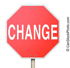 Change Word on Stop Sign - Isolated