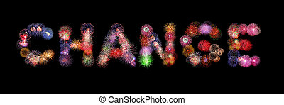 Change word text colorful fireworks